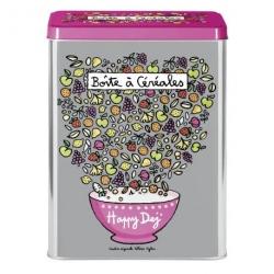Boite à Céréales Happy dej' - argent/rose
