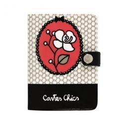 Porte-cartes FOLK Miss Chic - rose/noir
