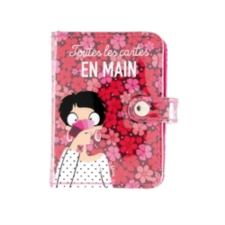 Porte-cartes FOLK En main - rose