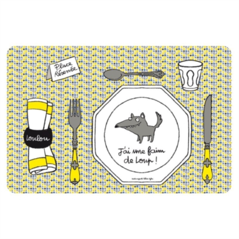 Set de table loup jaune Set de table a personnaliser