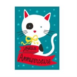 Carte (+env) d'anniversaire Chat - rouge/bleu