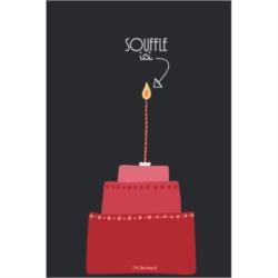 Carte (+env) d'anniversaire Souffle - rouge/noir