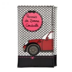 Porte-papiers voiture Bonne conduite - noir/rose