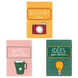 Carnet MARCEL A6 (assortiment de 3 en set) Jours