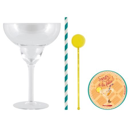 Coffret 2 Verres à cocktail (+ 6 dessous de verres) A gogo
