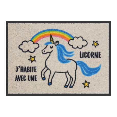Tapis de patio LEMIYO J'habite avec une licorne