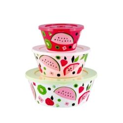 Saladier TAITIC ( set de 3 + couvercles ) Tutti Frutti