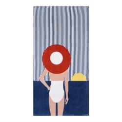 Serviette de plage AMARINE Dame au chapeau