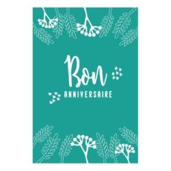 Carte double (+ env) Joyeux anniversaire fleur