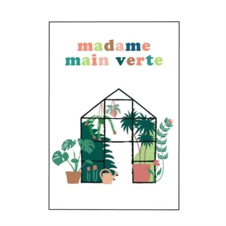 Carte double (+ env) Madame main verte