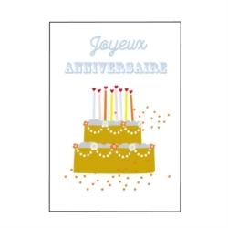 Carte double (+ env) Joyeux anniversaire gâteau