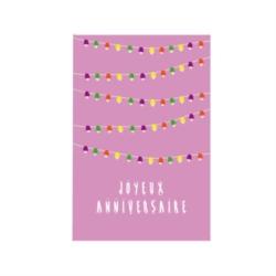 Carte double (+ env) Joyeux anniversaire guirlandes