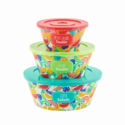 Saladier TAITIC ( set de 3 + couvercles ) Fruits