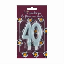 Bougie d'anniversaire 40 ans - La fleur aux dents