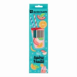 Paille (set de 10 + goupillon dans boite) METAL Fruits