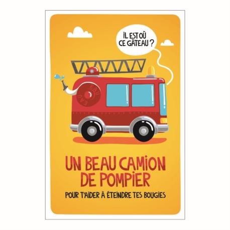 Carte double (+ env) Anniversaire camion de pompier