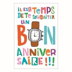 Carte double (+ env) Bon anniversaire montre