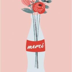 Carte double (+ env) Merci fleurs