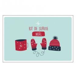 Carte double (+ env) Kit de survie noël