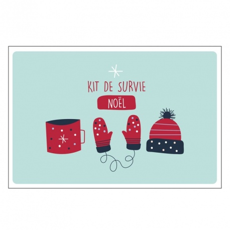 Carte double (+ env) Kit de survie noël