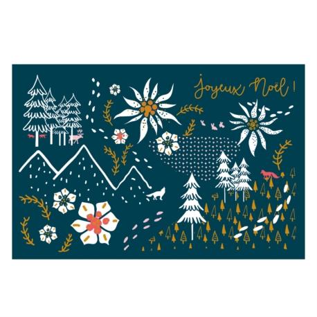 Carte double (+ env) Joyeux noël edelweiss