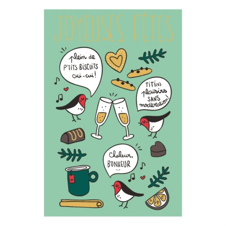 Carte double (+ env) Joyeuses fêtes tchin