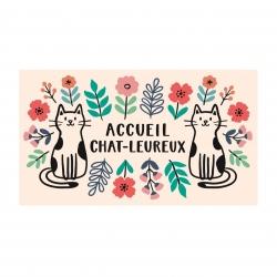 Paillasson COCO/PVC Accueil chat-leureux fleurs