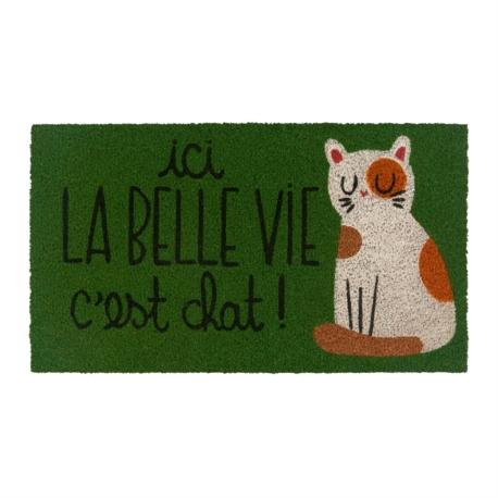 Paillasson COCO/PVC Ici la belle vie c'est chat