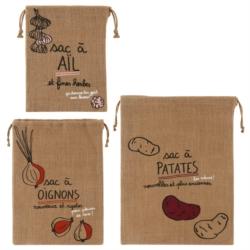 Sac JUTE (Assortiment de 3 sacs: Ail, Oignon, Patate) +Zecolo