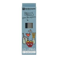 Paille (set de 10 + goupillon dans boite) METAL Les copains gris
