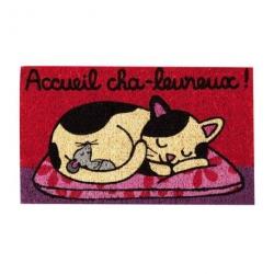 Paillasson COCO/PVC Accueil cha-leureux - rouge