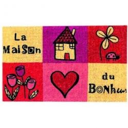 Paillasson COCO/PVC La maison du bonheur - rose