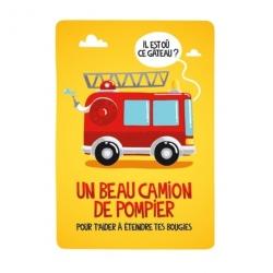 Carte (+env) d'anniversaire Pompier - jaune/rouge