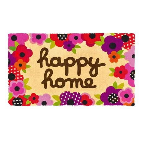 Paillasson COCO/PVC Happy home - multicolore