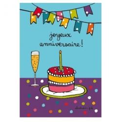 Carte (+env) d'anniversaire Gâteau - multicolore