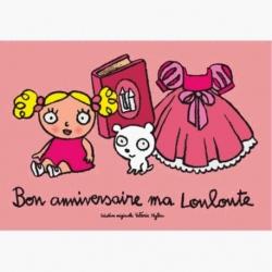 Carte (+env) d'anniversaire Louloute - rose